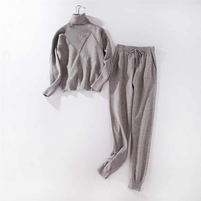 秋のニットセーター女性 2 ピースセット 2019 女性のタートルネックのセーター + ハイウエストニットズボン女性の冬服スーツ