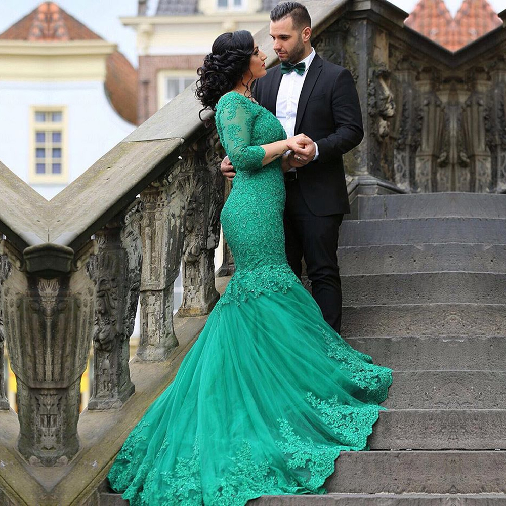 1ee95d780a6aa robe mariage Mermaid Lace Wedding Dresses Gothic Emerald Green Arabic Wedding  Gowns Long Sleeves Lace Up Bridal Dress for Bride