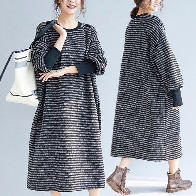 ab950306252 Plus Size 5XL 2018 Autumn Winter Women Fashion Elegant Stripe Tops Female  Ladies Big Large Long Sleeve Loose Knit Sweater Dress