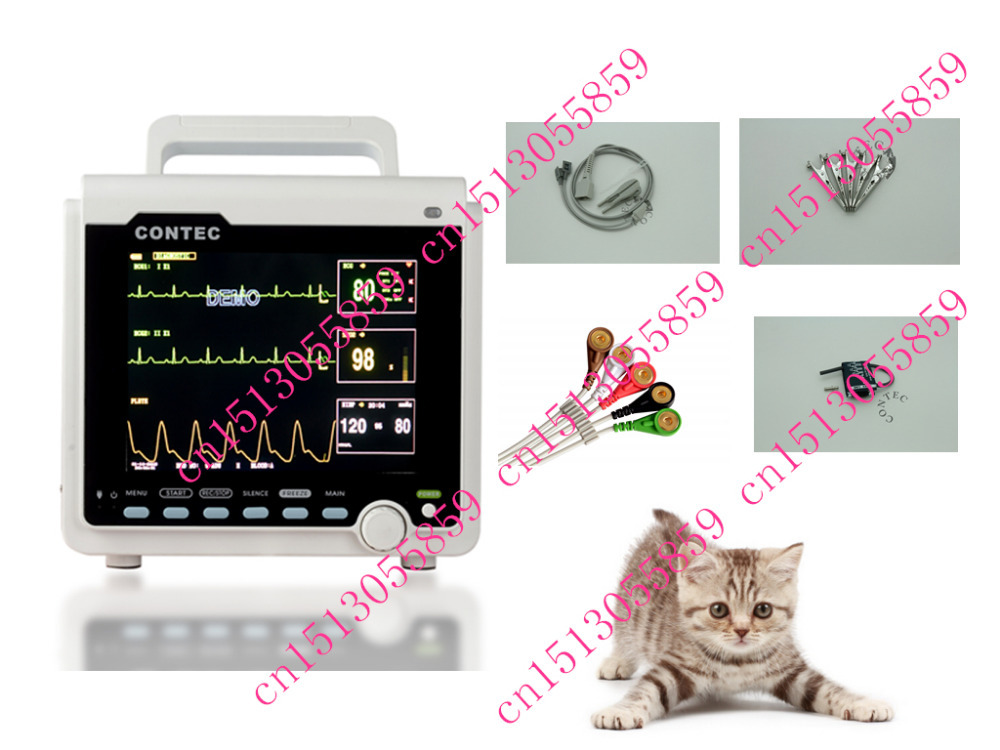 CE Veterinary ICU patient monitor CMS6000+Printer ECG NIBP SPO2 PR TEMP RESP for animal gpyoja 2016 hot selling multi parameter ecg nibp spo2 pr temp resp tablet patient monitor
