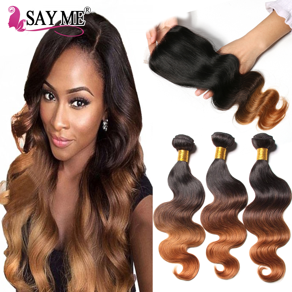 Ombre Body Wave Human Hair Bundle Med Lace Closure Blonde Brazilian - Menneskehår (sort)