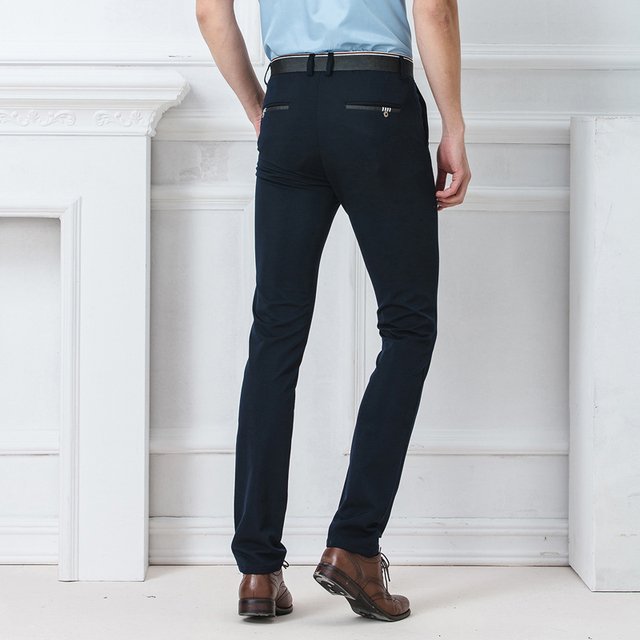 Spring Autumn Fashion slim fit Casual Pants Men Straight Trousers Dress Men Elastic Business Suit skinny Pants For Man 5