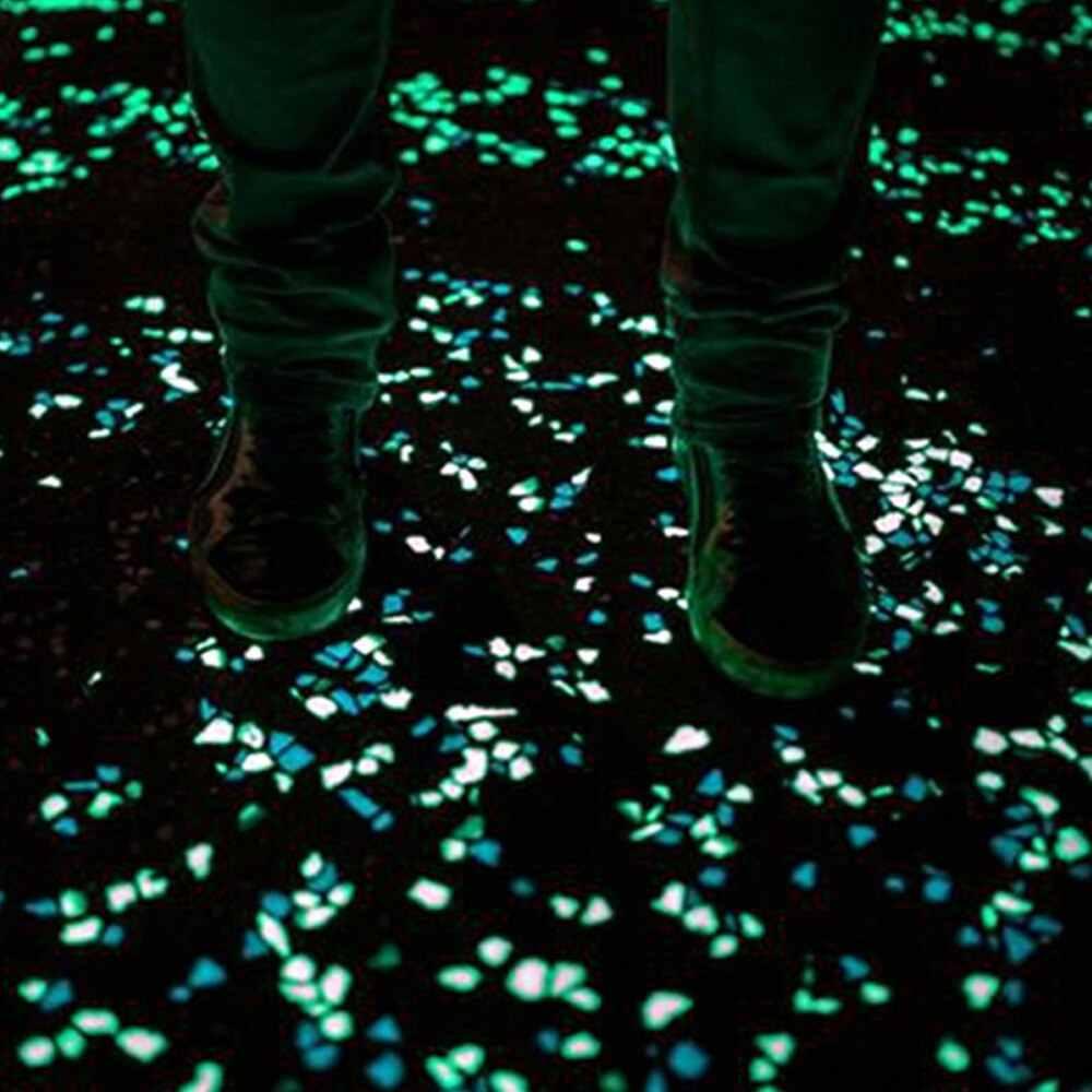 100 sztuk Luminous sztuczne kamyki blask w ciemności kamień dekoracja do przydomowego ogrodu fluorescencyjne sztuczny kamień do akwarium Fish Tank