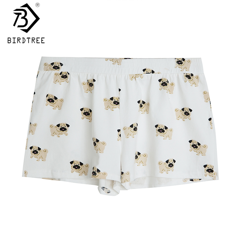 Women's Cute Pug Dog Cartoon Animal Print Shorts Loose Fit White Elastic Waist Stretchy Plus Size  Dropshipping Support! B79501J
