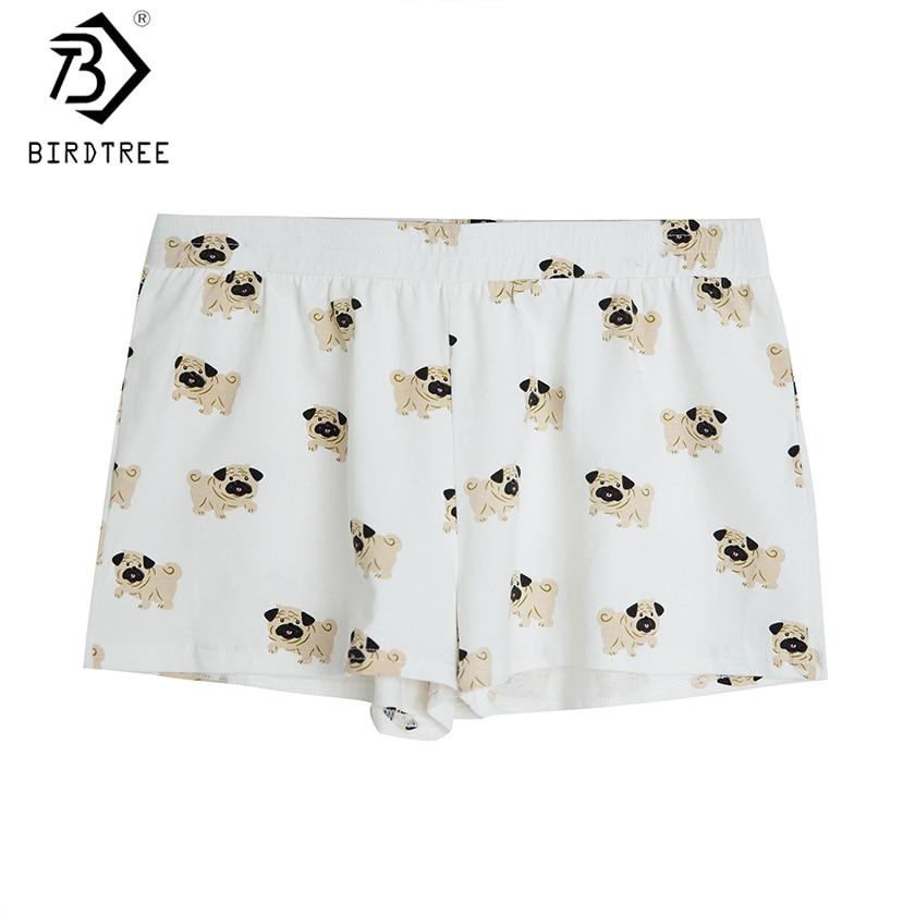Women's Cute Pug Dog Cartoon Animal Print Shorts Loose Fit White Elastic Waist Stretchy Plus Size  Dropshipping Support! B79501J