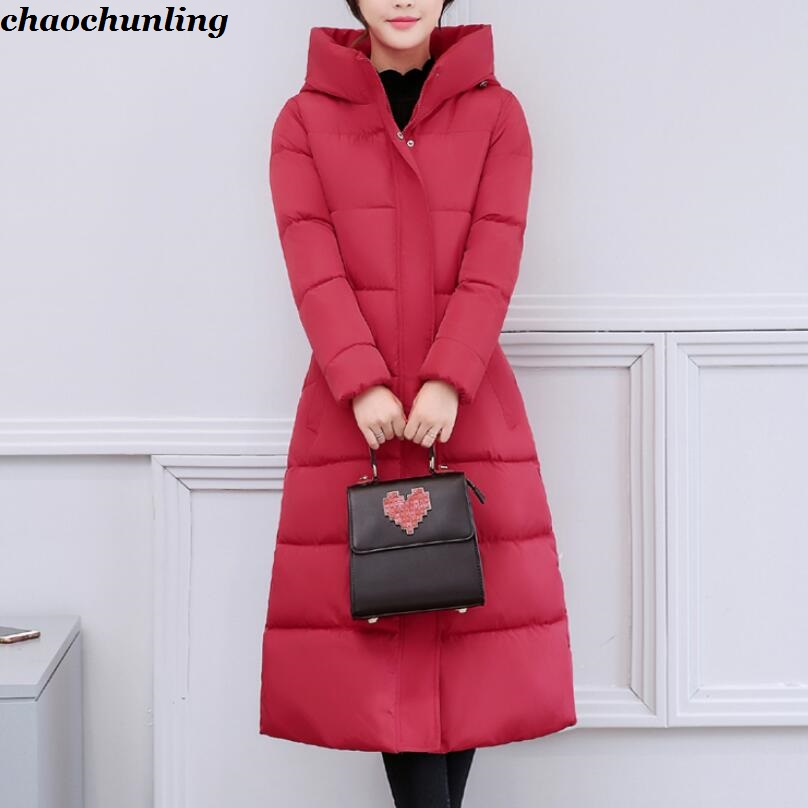 Korea 2017 New Winter Lady Down Long Jackets With Hat Red, Black,Gray,Green,Blue 6Colors Lady Thick super Warm Hooded Coats england style 2017 new winter lady hooded balls jackets pink red black gray and blue lady down jackets imitation fox fur hat