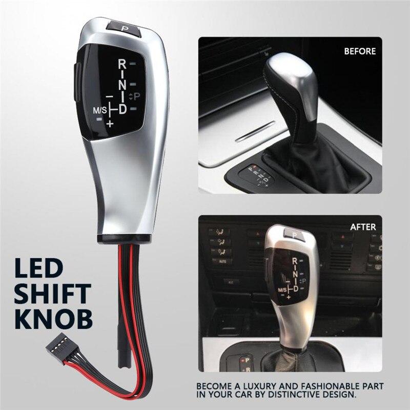 Pour BMW E60 E63 E46 2D 4D bouton de changement de vitesse de voiture LHD automatique en cuir plastique LED argent levier de vitesse 2004 série 5 modèle 535