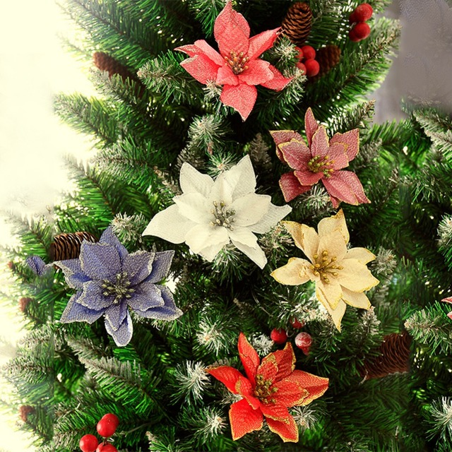 15cm christmas flowers xmas christmas tree decorations glitter wedding party artificial flowers decor 6 colors drop