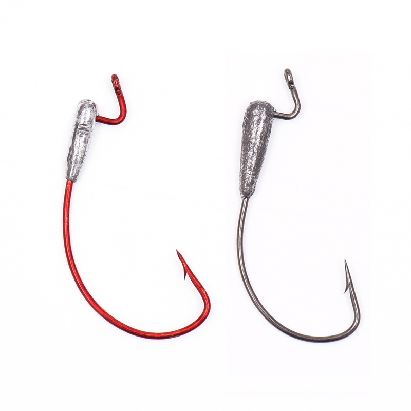 10pcs shank weighted crank worm fish hook red silver color for Best hooks for bass fishing