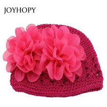 Warm Handmade Princess Flower Baby Hat for Girls Crochet Beanie Knitted Cap Newborn Photography props kids winter hats