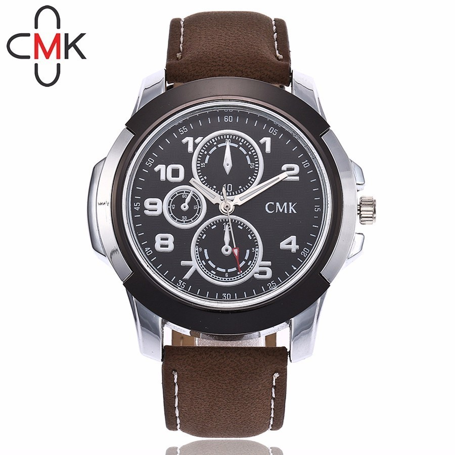 CMK Men Military Watch Fashion Casual Men's Leather Sport Quartz Wristwatches Gift Clock Relogio Masculino Hot Sale xiniu retro wood grain leather quartz watch women men dress wristwatches unisex clock retro relogios femininos chriamas gift 01