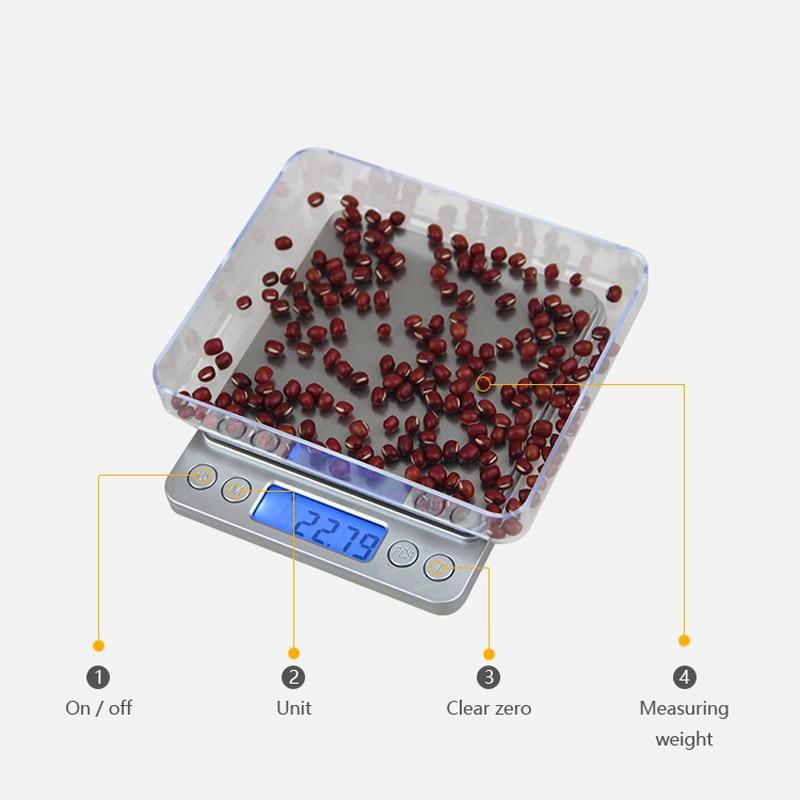 500 g x 0,01 g hordozható mini elektronikus digitális mérlegek - Mérőműszerek - Fénykép 4