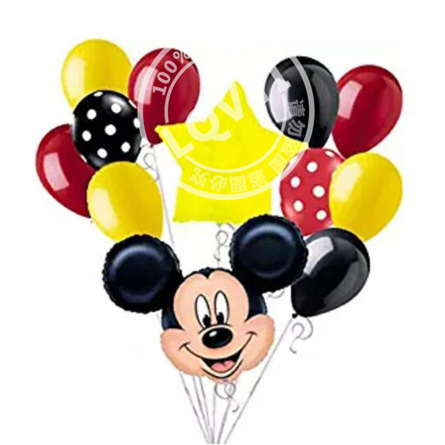 10pcs Happy birthday mickey minnie mouse Foil Balloons 12 inch wave point latex Balloons Baby party decoration globos kids toy