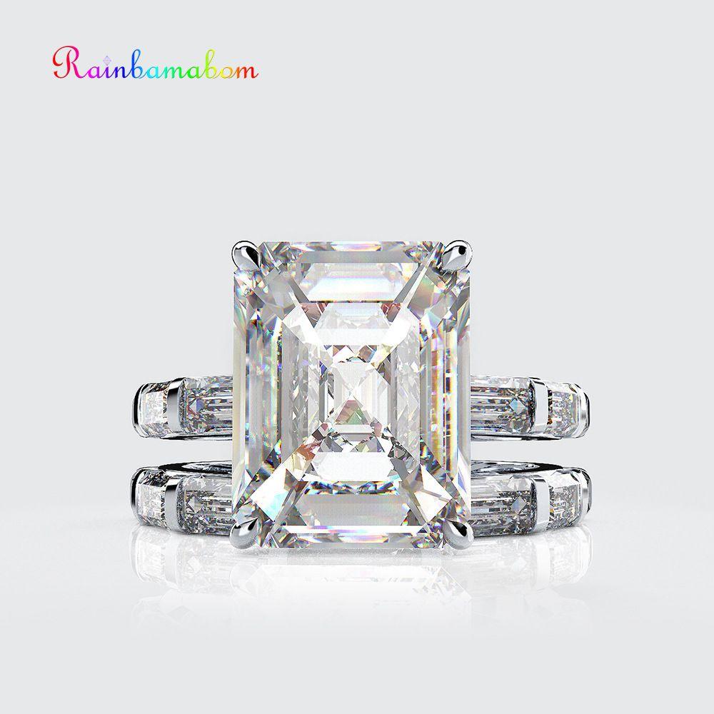 Rainbamabom Vintage 925 Sterling Silver Created Moissanite Gemstone Wedding Engagement Couple Ring Sets Jewelry Wholesale