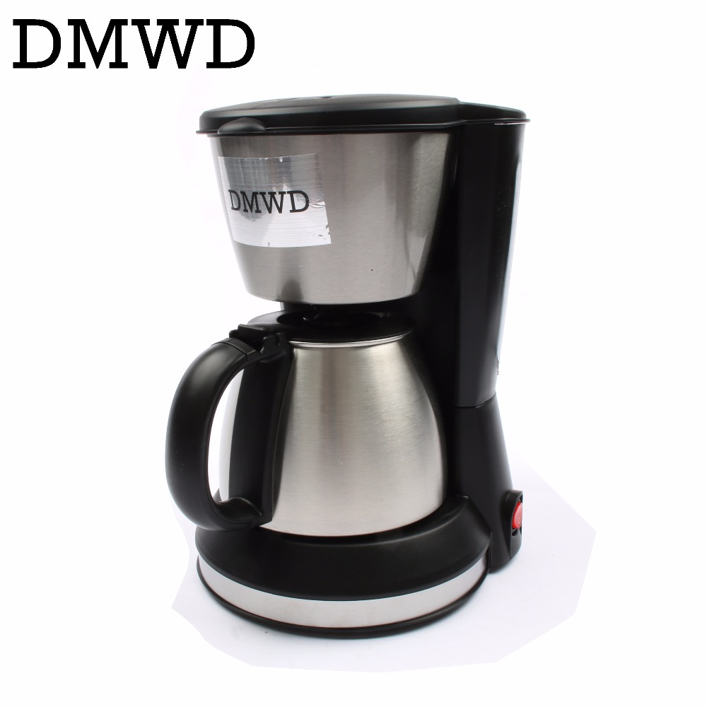 DMWD Automatic Electric Espresso Coffee Maker cafe drip American coffee Machine Latte Household mini stainless steel teapot 0.7L