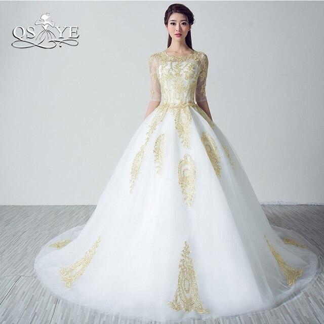 Vestidos De Noiva Gold Lace White Wedding Dresses 2018 Plus Size Illusion Neck Half Sleeve