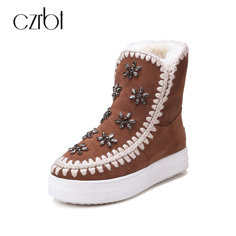 CZEBR Cow Suede Leather Real Wool Snow Boots Women Winter Warm Shoes Crystal Floral Round Toe Flat Heel Snow Boots Size 34-41 uovo christmas winter warm children medium knitted wool snow boots for kids girls cow suede cotton boots shoes for 4 10t ccs027