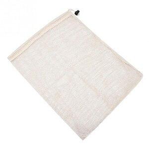 Image 5 - Reusable Organic Cotton Vegetable Mesh Bag for Men Women Home Kitchen Washable Fruit Grocery Drawstring Shopping Storage Bags