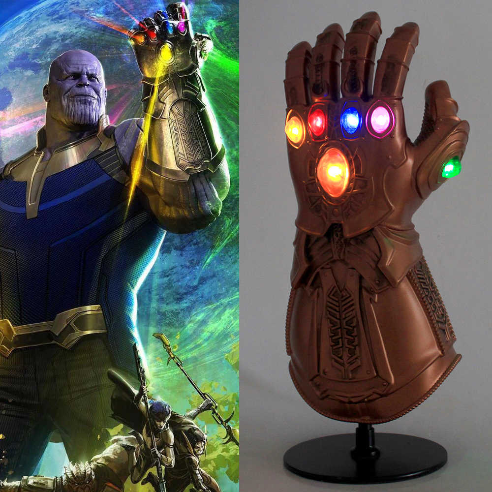 Infinity Gauntlet Cosplay Avengers Infinity War Gloves Thanos Mask Infinity Gauntlet With LED Deluxe PVC Adult Halloween Party