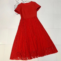 Women Black Dress with Flowers High Quality Summer Dress with O neck Collar Red Long Dress Elegant