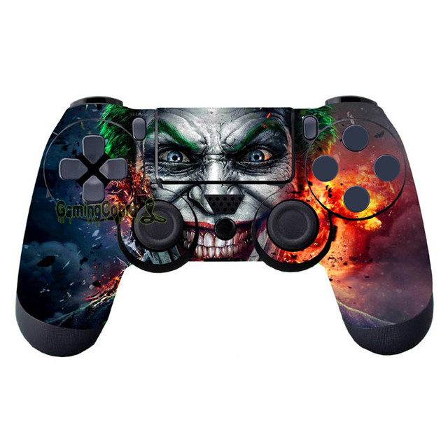 eXtremeRate 2 Pcs Custom Joker Protective Vinyl Decal Covers Skin Sticker for PS4