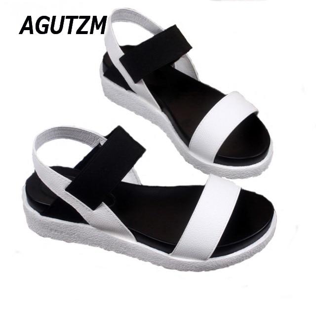 AGUTZM Women sandals women Summer shoes peep-toe flat Shoes Roman sandals mujer sandalias Ladies Flip Flops Sandal Footwear
