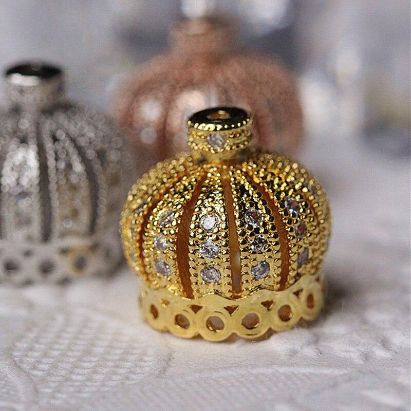 13mm DIY Metal Brass font b Bead b font Gold filled Round Crowns font b Beads