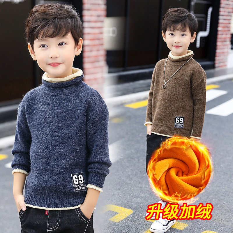 Boys Sweaters 2018 New Fashion Autumn Winter Plus Velvet Christmas Sweater Long Sleeve O-neck Collar Sweater Child 8 Pull Garcon geometric spliced print round neck long sleeve sweater