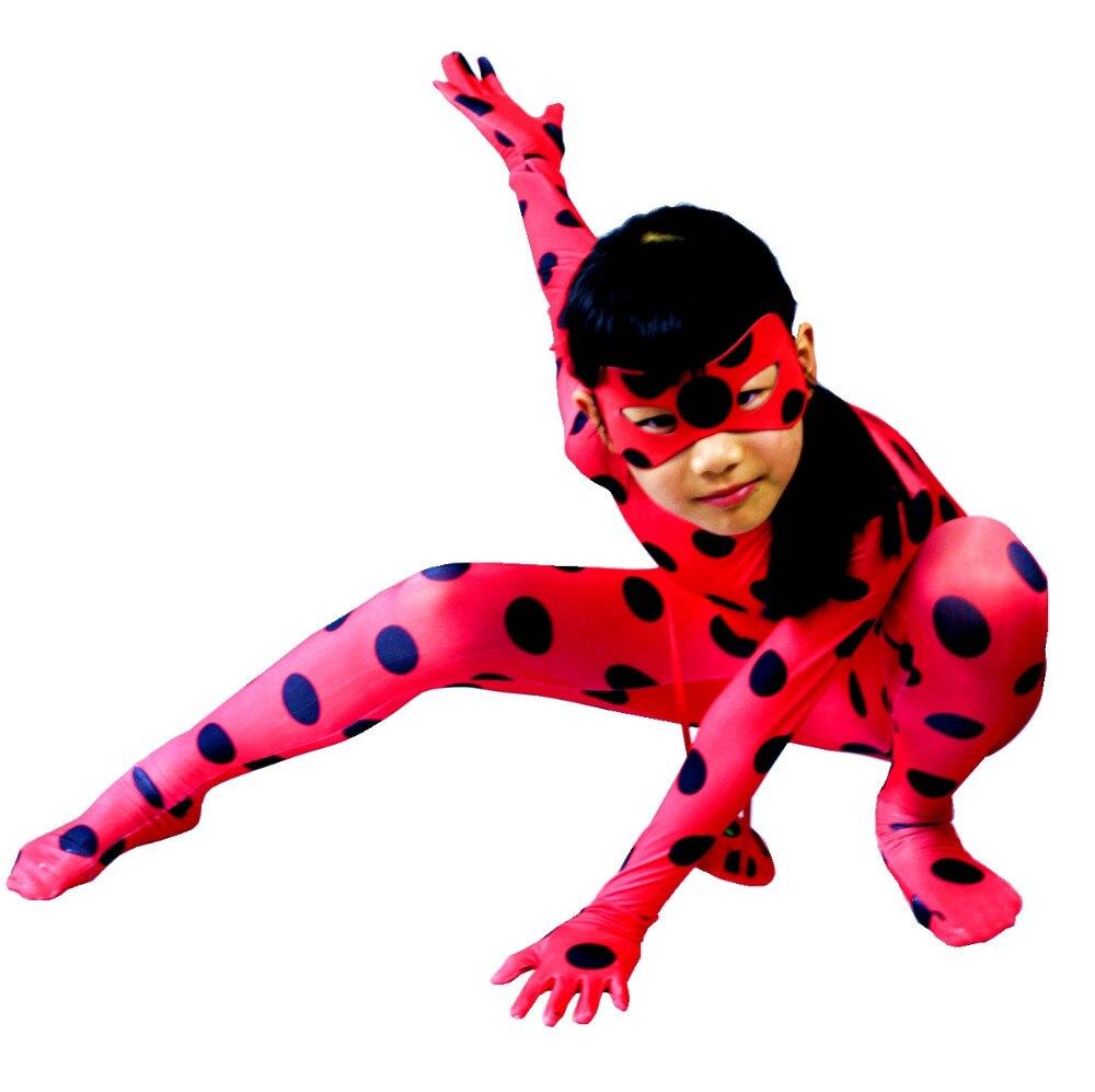 Ladybug Kids Costumes Girls Women Children Girl spandex jumpsuit match mask bag Ladybug zentai Halloween Fancy Dress