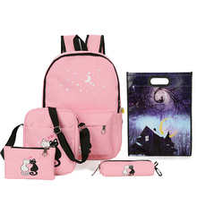 все цены на Cute Animal Star Printing Backpack Women Bags Canvas Rucksack School Bags for Teenagers Girls Female Backpack Set Women Bookbags онлайн