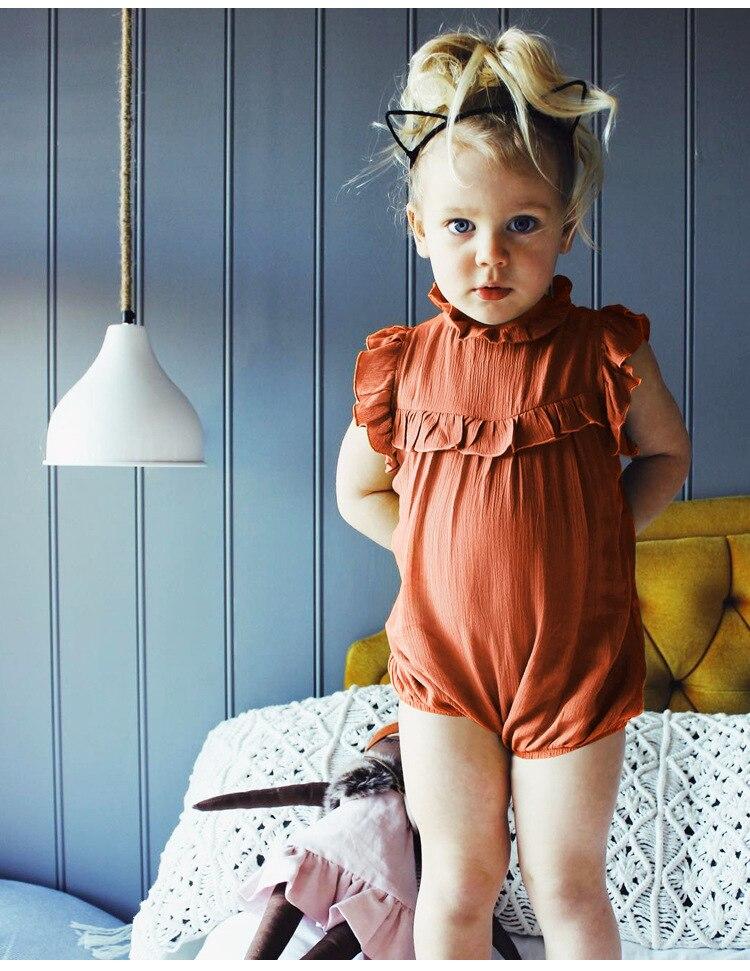 Newborn Baby Girls Bodysuit Infant Summer Sleeveless Ruffles Bodysuit Baby Girl Jumpsuit Clothes Outfits Summer Onesie