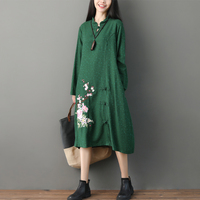 Chinese Style Autumn Winter Cotton Linen Dress Fashion jacquard large size plate buckle Embroidered long sleeve Long Dress