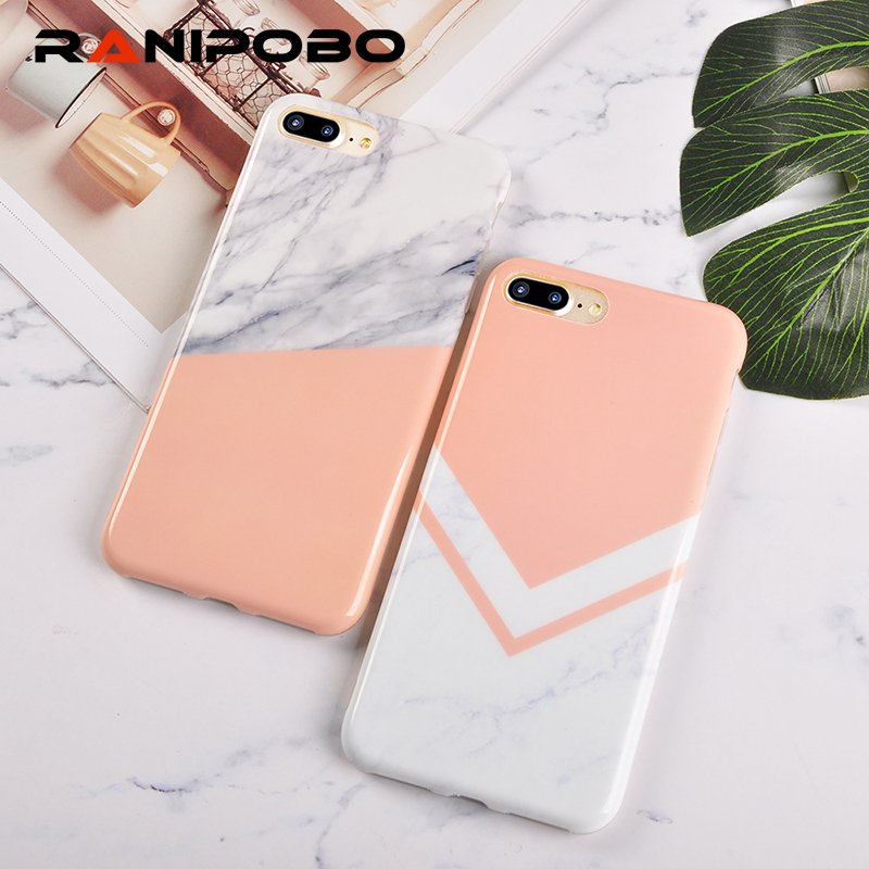 Fashion Classic Splice Marble Texture Phone Case for iPhone X 6 6S Plus 7 7Plus 8 8Plus Case Glossy Soft TPU Pattern Back Cover