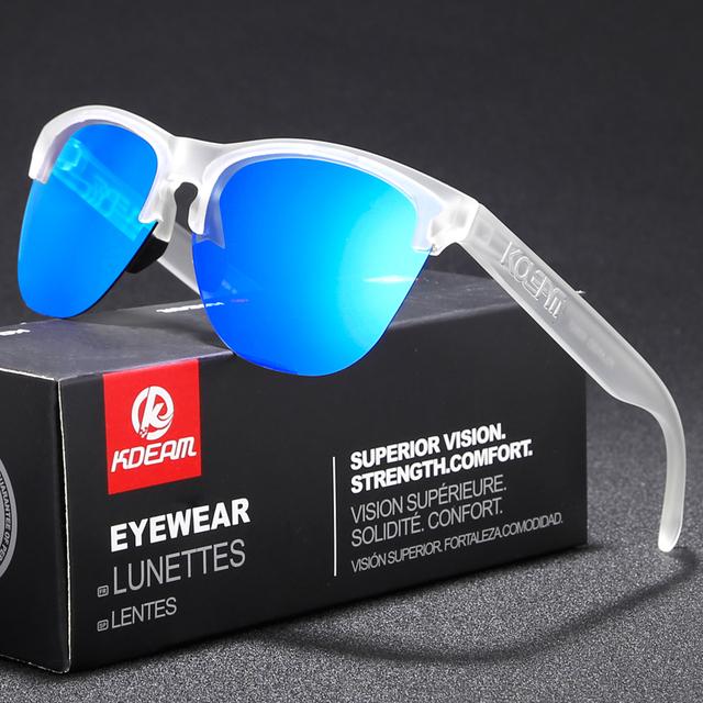 Rimless TR90 Frame Polarized Sunglasses Men Sport Eyewear Reflective Coating Lens Women zonnebril KDEAM UV400 With Case KD8927