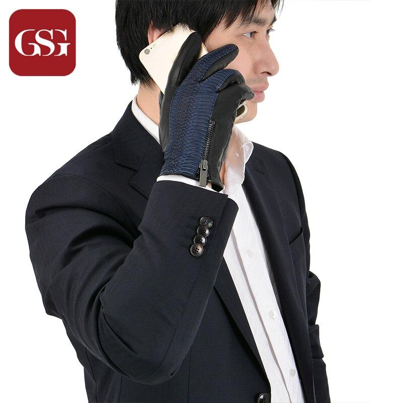 GSG Snake Zipper Pánské kožené rukavice Reliéfní Patchwork Teplé podšívané Rukavice z pravé kůže Zimní dotykové rukavice Rukavice