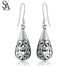 Sa silverage nyata 925 sterling silver vintage jatuhkan dangle earrings wanita fine jewelry oval 2017 kedatangan baru
