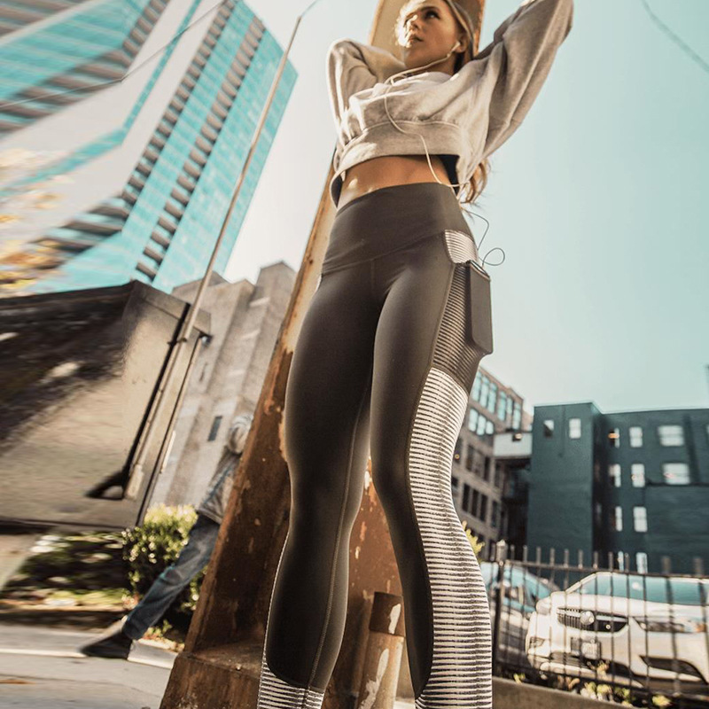 SVOKOR Pocket High Waist Leggings Women Fitness Workout Activewear Printing Trouser Fashion Patchwork Push Up Female