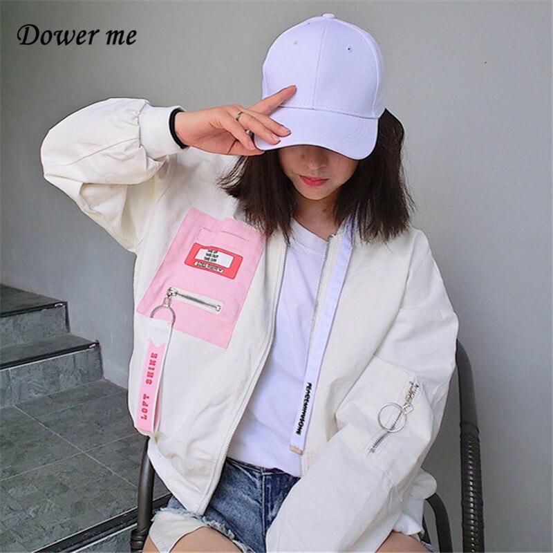 New Supermaket Fashion Patchwork Women Jacket Harajuku Loose Slim Ladies Jackets Female Thin Sleeve White Coats YN1816