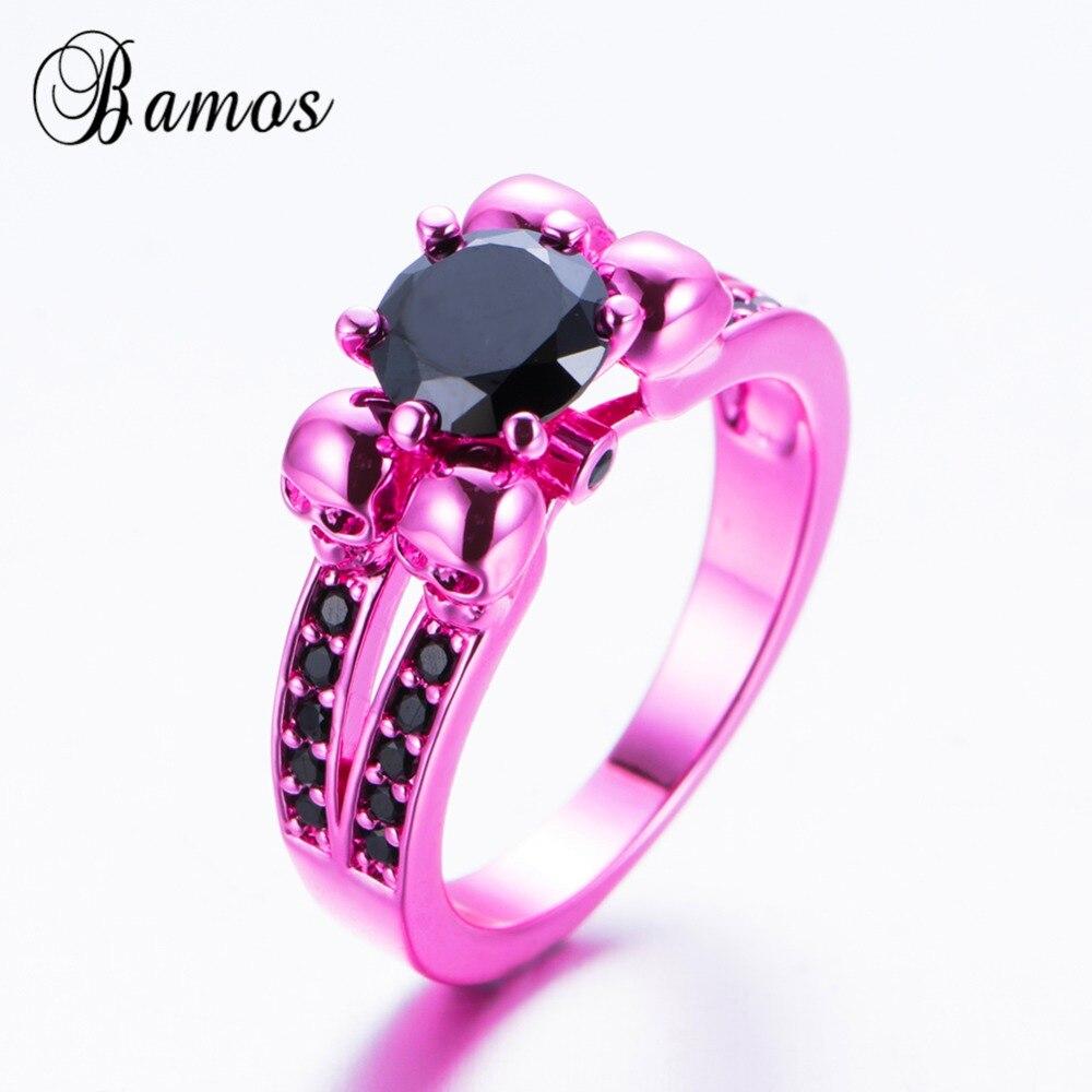 Bamos Punk & Vintage Black Cubic Zirconia Female Skull Ring Stylish ...