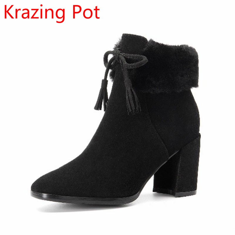2018 Superstar Cow Suede Winter Shoes Sweet Streetwear Rabbit Fur Black Tassel Bowtie High Heels Square Toe Women Ankle Boots L4 black and white senior rabbit fur hat