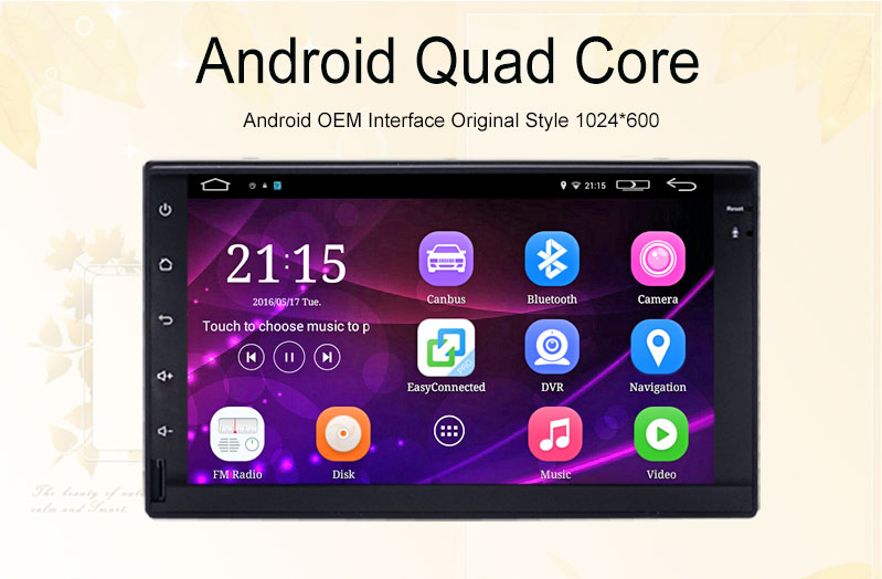 1024 x 600 Android 5.1.1 quad core 2 din universal car Audio stereo radio gps navigation 3G Wifi BT(no dvd) Russian,English