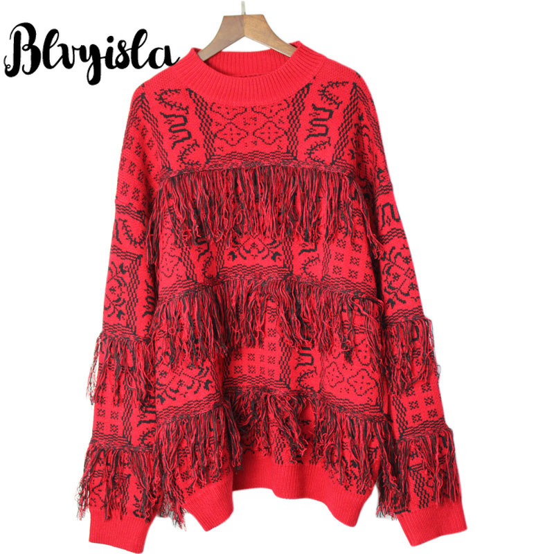 Mujer Blvyisla Ocio Tejer Invierno De Manga Jerseys Suéter rojo Geométrico Negro Larga Cuello Borla Redondo trwR0rTq