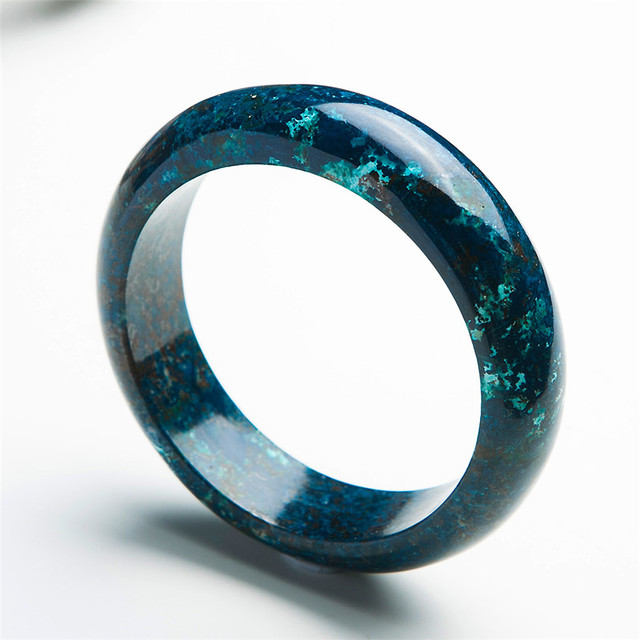 Genuine Natural Green Chrysocolla Malachite Gems Stone Women Ladies Charm Round Crystal Bracelet Bangle Inner Diameter 60mm