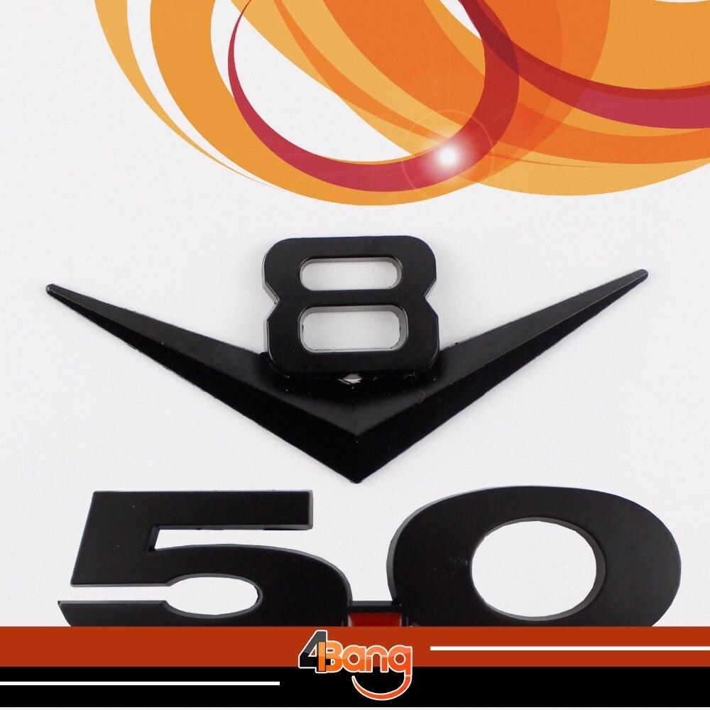Black car badge metal nameplate v8 5 0 sticker engine emblem side decal for chevy dodge challenger