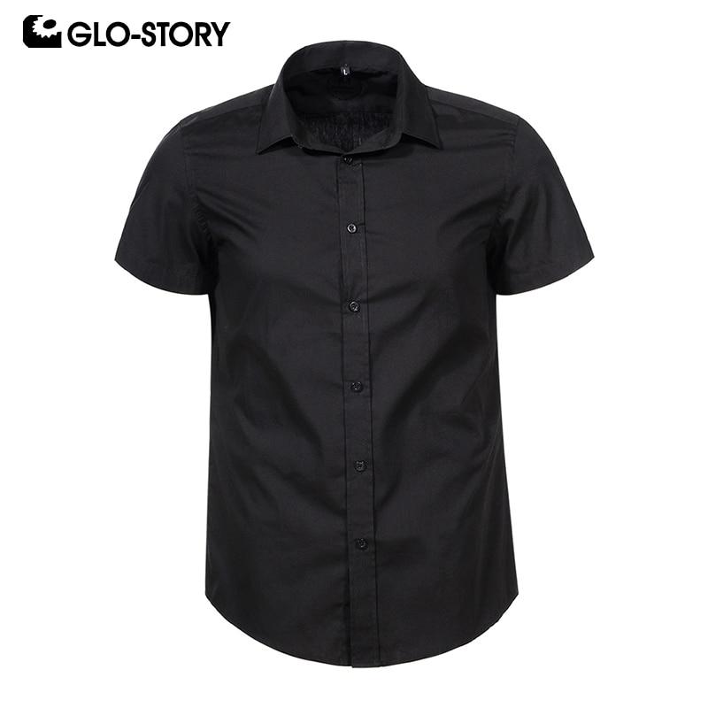 GLO-STORY Summer Short Sleeve Formal Shirts For Men 2019 Plu