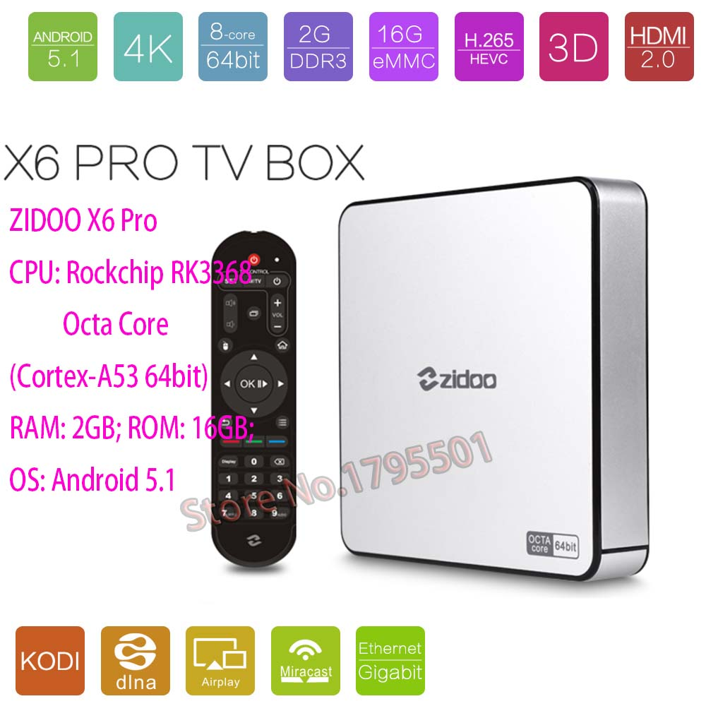 ZIDOO X6 Pro Octa Core Smart Android 5.1 TV Box HD 4K 3D 2GB / 16GB H8 M8S Network Media Player HDMI 2.0 Bluetooth 4.0 Dual WiFi zidoo x6 pro android 5 1 lollipop octa core tv box rk3368 2gb 16gb 1000m lan dual band wif bt4 0 4k 2k h 265 kodi 3d