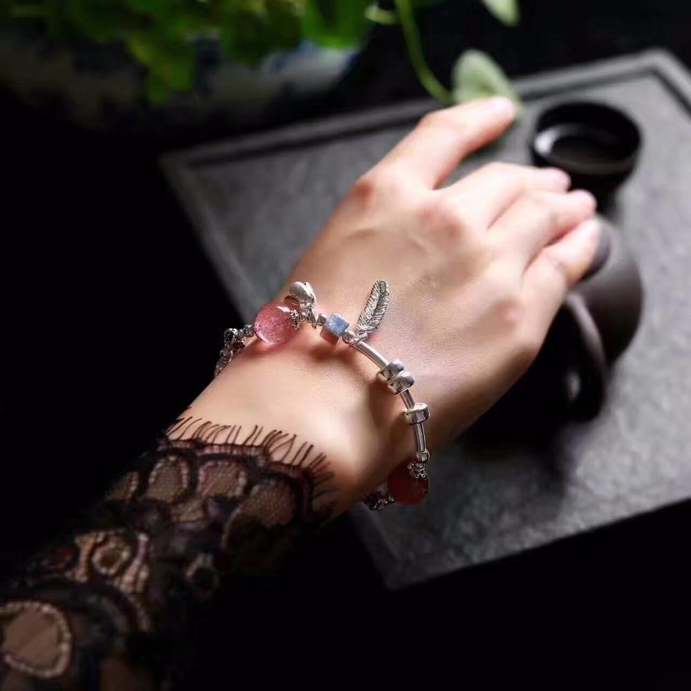 Handmade Strawberry Quatrz&Hair Crystal Fashion Bracelet For Lady 925 Pure Silver Ethnic Style Hand Bracelets Fine Jewelry