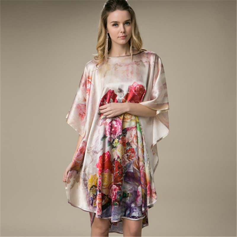 Hot Sale Summer Sleepshirts Women's Nightgown 100% Mulberry Silk Robe Dress Kimono Gown Flower Sleepwear Plus Size YBP012
