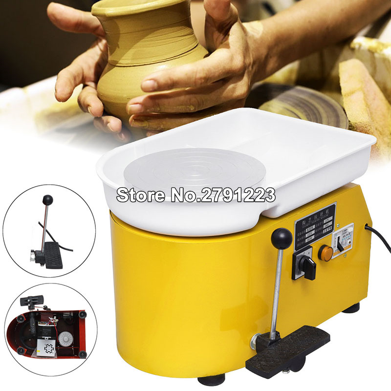 Pottery Wheel 25cm Pottery Forming Machine 250W Electric Pottery Wheel DIY Clay Tool with Tray for Ceramic Work Ceramics Clay China Art 110V Green