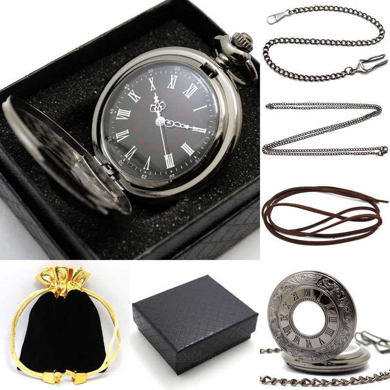 2017 New Vintage Black Pocket Watch Quartz Watches Chain Set Necklace Pendant Gifts Box Bag Men Women Gifts Relogio De Bolso vintage bronze fishing steampunk quartz pocket watch antique necklace pendant with chain clock men women gifts relogio de bolso